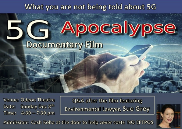 Gisborne – 5G Apocalypse film screening plus Q&A with Sue Grey on Sunday 8 December 2019