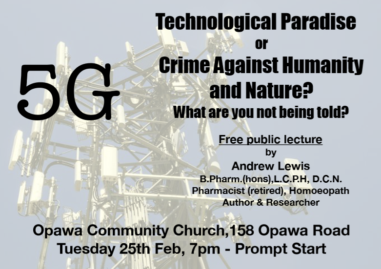 Christchurch: Andrew Lewis 5G lecture Tuesday 25 February 2020