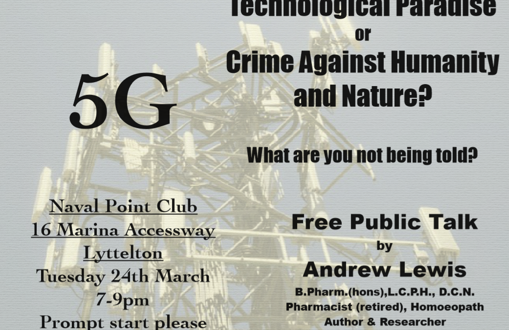 Lyttelton, Christchurch FREE talk on 5G Tuesday 24 March 2020